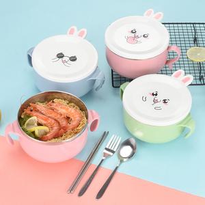 不锈钢泡面碗带盖学生韩式饭盒单个女便当可爱宿舍方便面碗筷套装