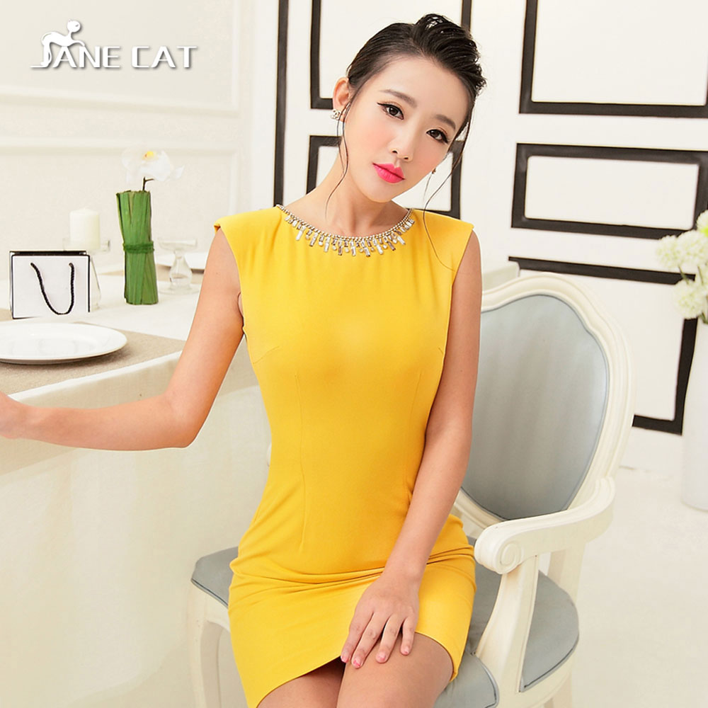 Original simple commuter round neck nail bead design sleeveless high waist slim fit buttock Pencil Dress Skirt