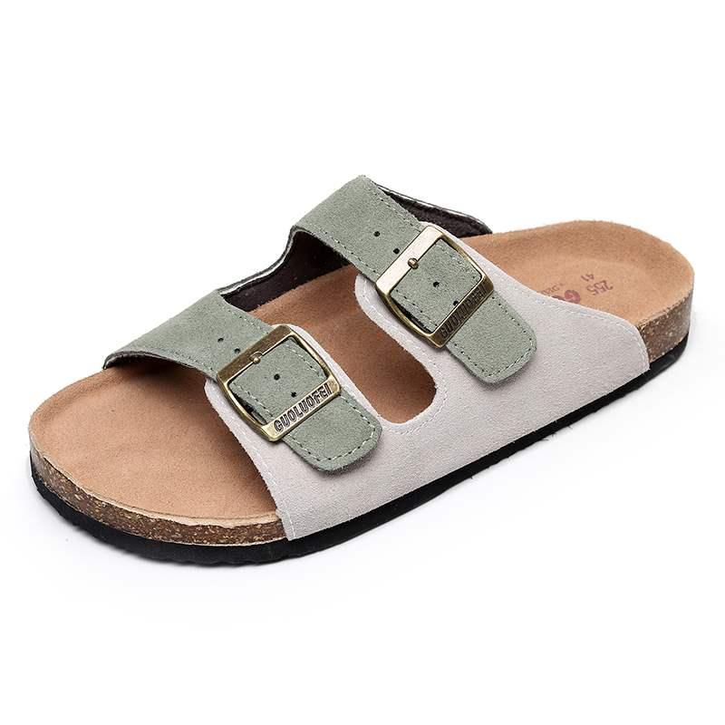 Cork slippers mens summer 2021 new sandals trend wear one line beach slippers mens and womens beach shoes