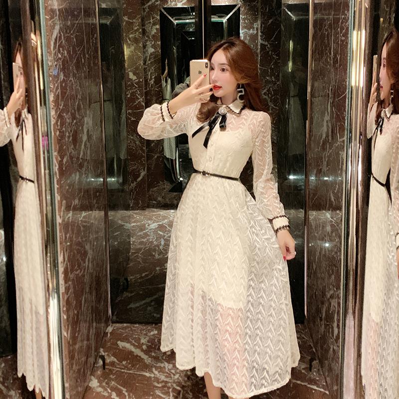 枪枪家法式复古蕾丝连衣裙女装2019款夏维多利亚复古裙打底裙两件