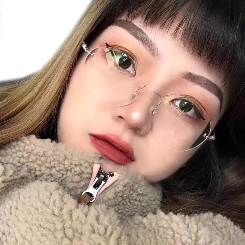 十月手工眼镜 无框眼镜女椭圆形近视镜时尚文艺复古眼镜架免邮