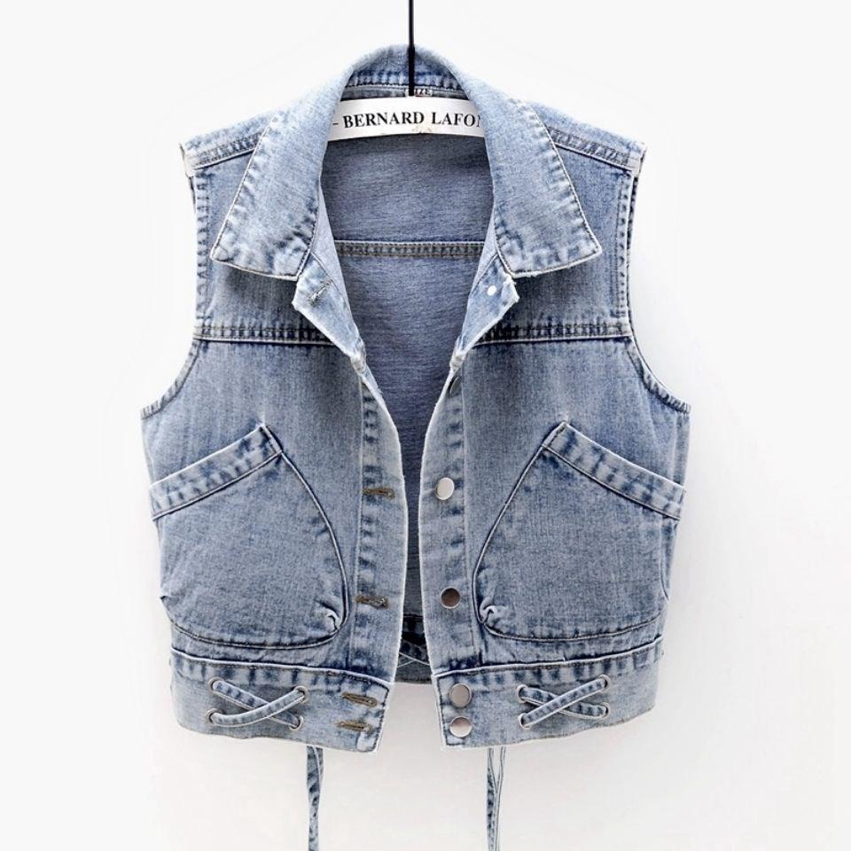 牛仔马甲女短款2021春秋新款宽松大口袋无袖夹克修身系带背心上衣