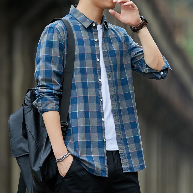 杜梵伦韩版秋季长袖格子衬衫男士休闲宽松纯棉寸潮流外套衫衬衣男