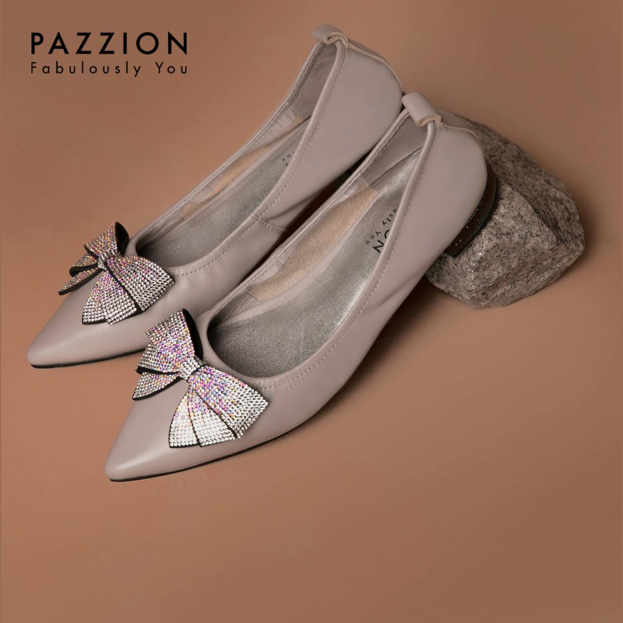 PAZZION2019新款优雅蝴蝶结水钻休闲鞋 时尚尖头浅口粗低跟单鞋女
