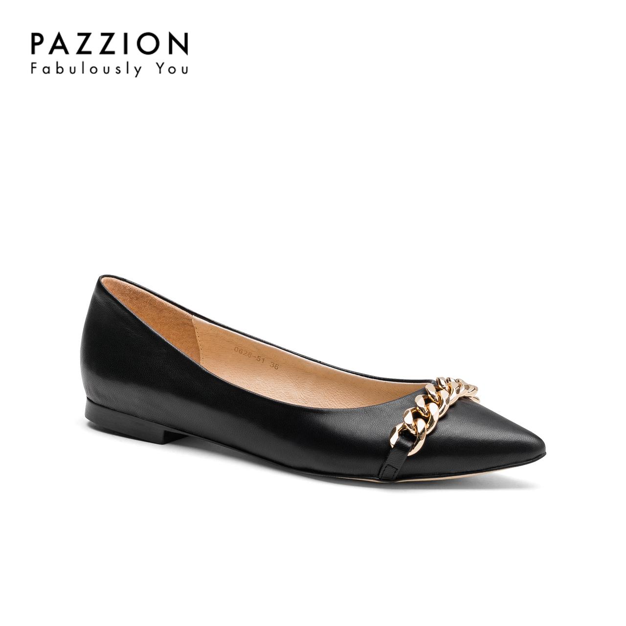 PAZZION潮流金属链条尖头通勤女鞋 休闲舒适柔软浅口平底羊皮单鞋