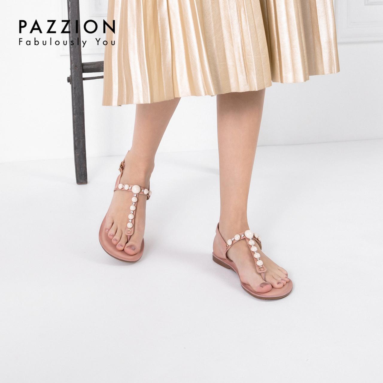 PAZZION甜美串珠水钻夹趾凉鞋女2019新款 清凉时尚一字扣带单鞋