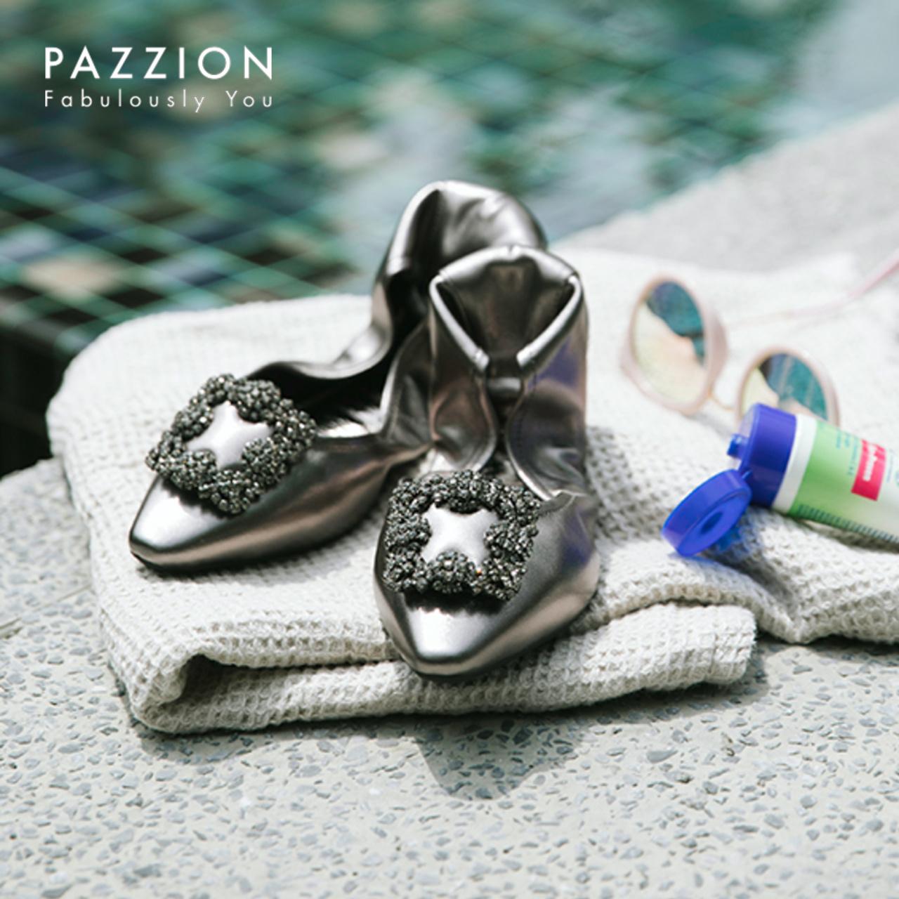 PAZZION复古透气牛皮休闲芭蕾舞折叠单鞋 雅致钻饰方扣软底平底鞋