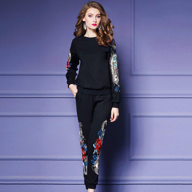 满5元可用5元优惠券伊琳莎2019秋季新款刺绣罗马棉套装