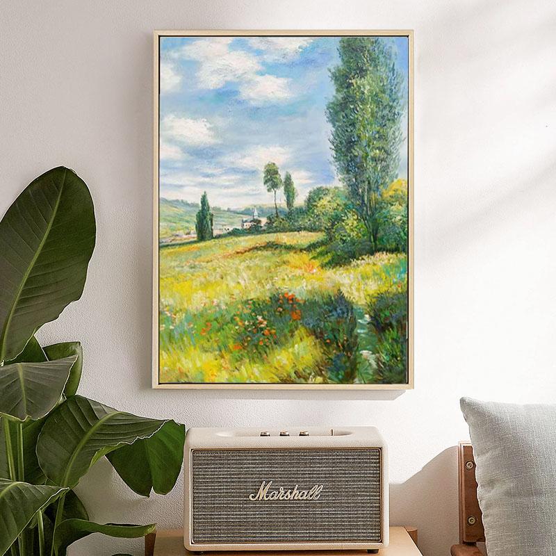 莫奈手绘风景油画亚嘉杜巡礼入户玄关现代装饰画北欧美式餐厅挂画图片