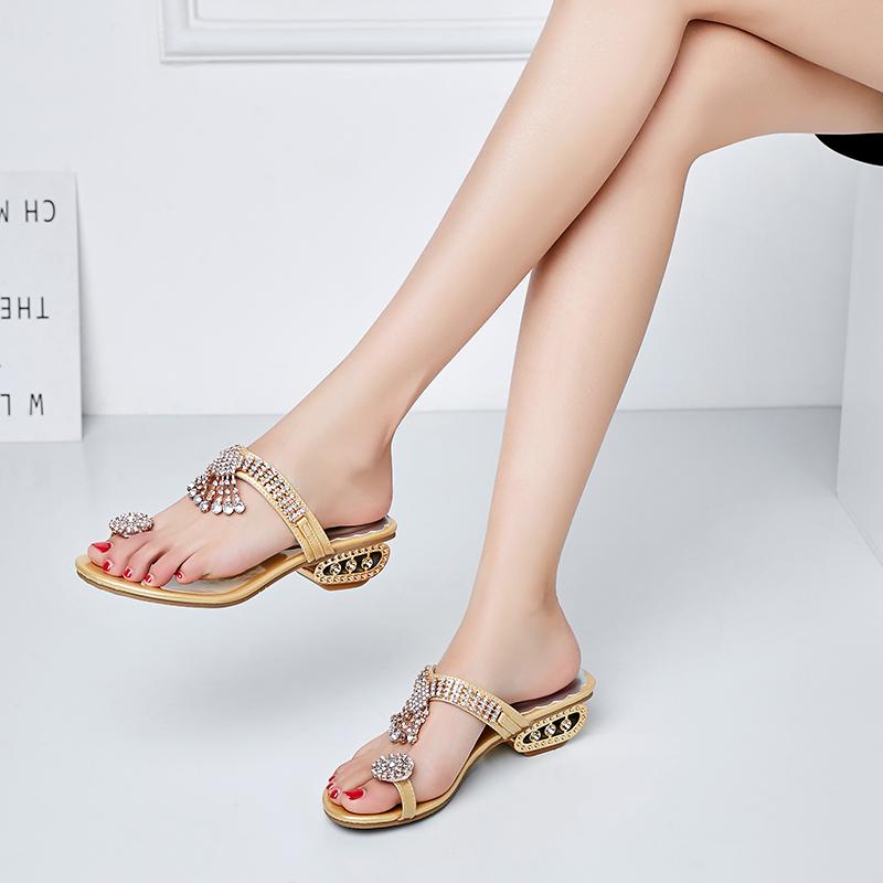 2020春夏新款水钻凉拖鞋女鞋时尚中跟一字粗跟韩版镂空跟拖鞋凉鞋