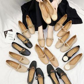 单鞋女平底2020软底豆豆夏款女鞋复古百搭浅口鞋子通勤奶奶鞋秋季