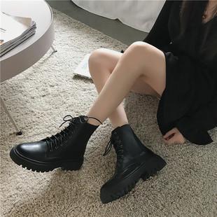 马丁靴女ins2019秋季新款英伦风透气黑色帅气机车百搭系带短靴子
