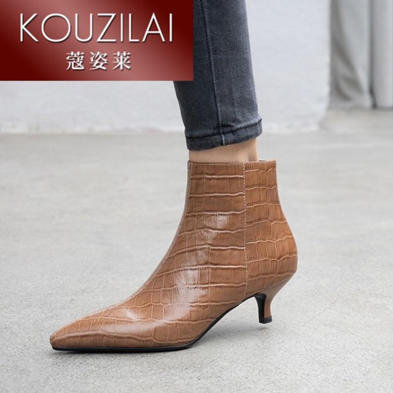 QY猫跟短靴女鞋2019网红石头纹真皮单靴尖头细跟3cm小跟裸靴T1117