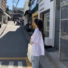SIXI四喜家自制春夏 oversize纯棉白色短袖T恤女夏新款宽松男友风