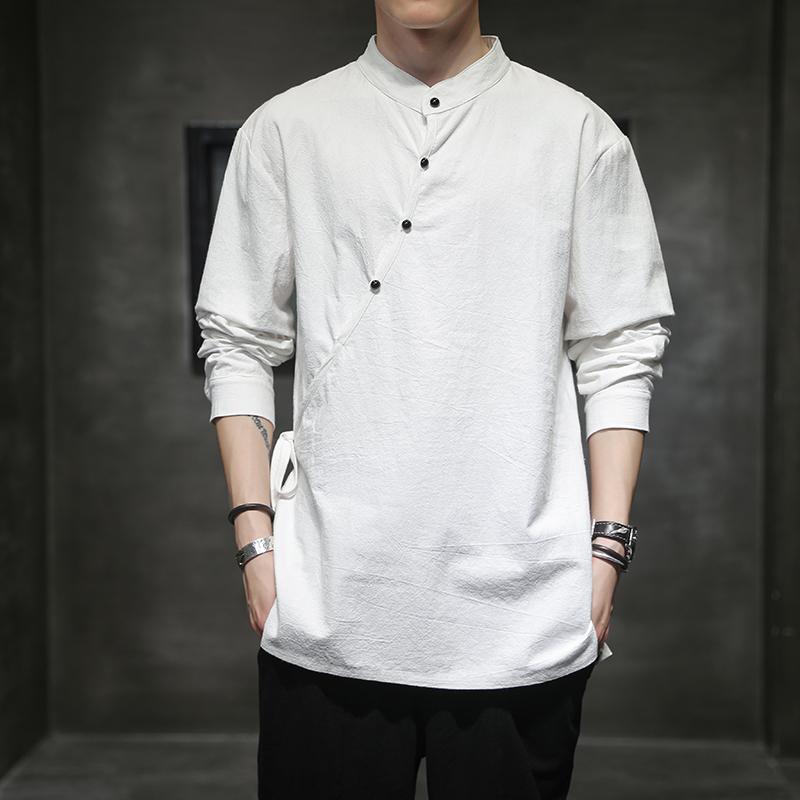 21春款中国风棉麻长袖衬衫男宽松T恤茶居士汉服钱塘721-CS88-P50