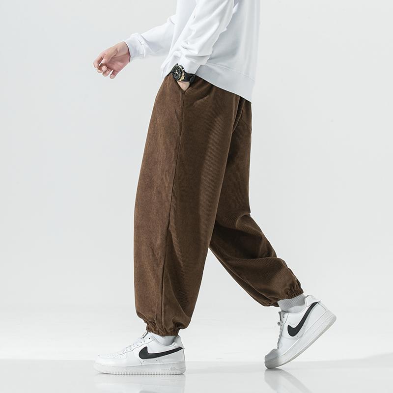 2021日系秋冬新款灯芯绒休闲裤男宽松阔腿哈伦裤QT721-K908-P45