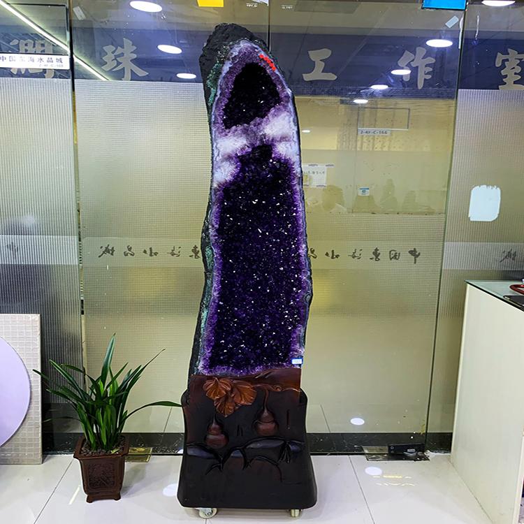 乌拉圭巴西天然紫晶洞钱袋子恐龙蛋聚宝盆晶簇原石招财聚福摆件