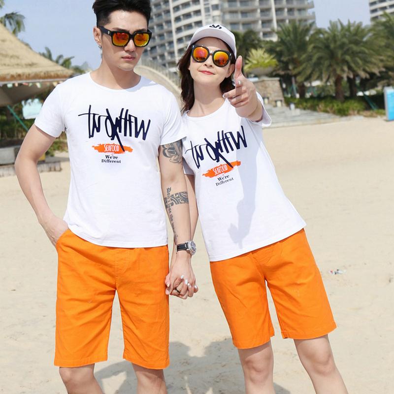 沙滩情侣装夏装2018新款短袖t恤男女休闲裤情侣服运动装海边套装