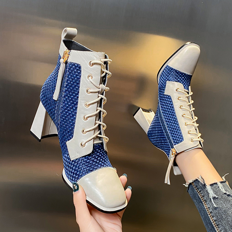 European and American style lace up leather blue square head thick heel short boots