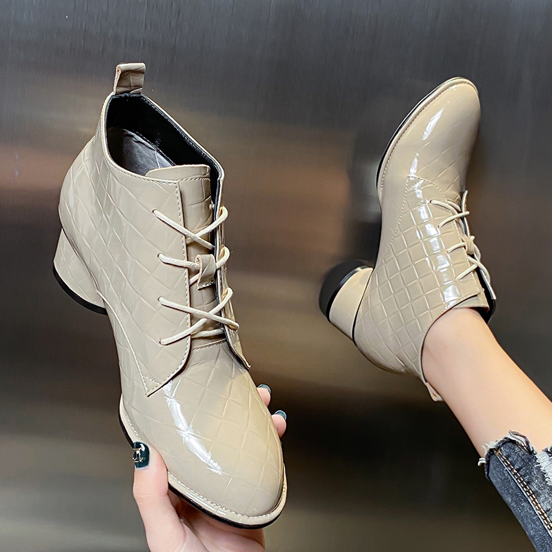 European and American style thin heel Martin boots fall / winter 2020 new short boots versatile pointed lace up leather fashion high heels