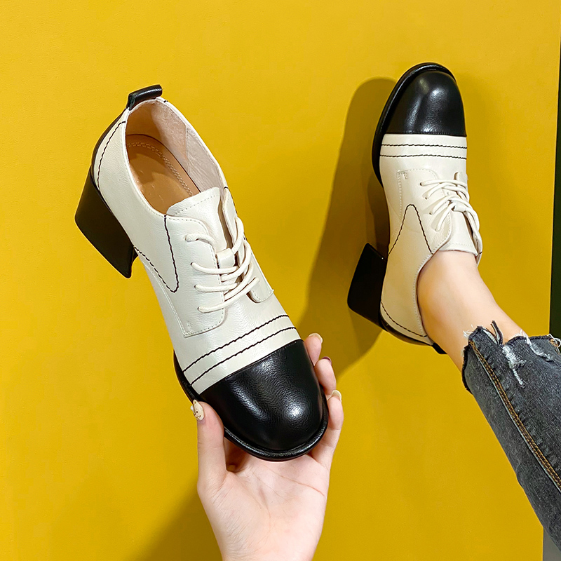 2020 new spring and autumn British style lace up square head thick heel deep mouth single shoe leather high heel Mid Heel versatile bare boots