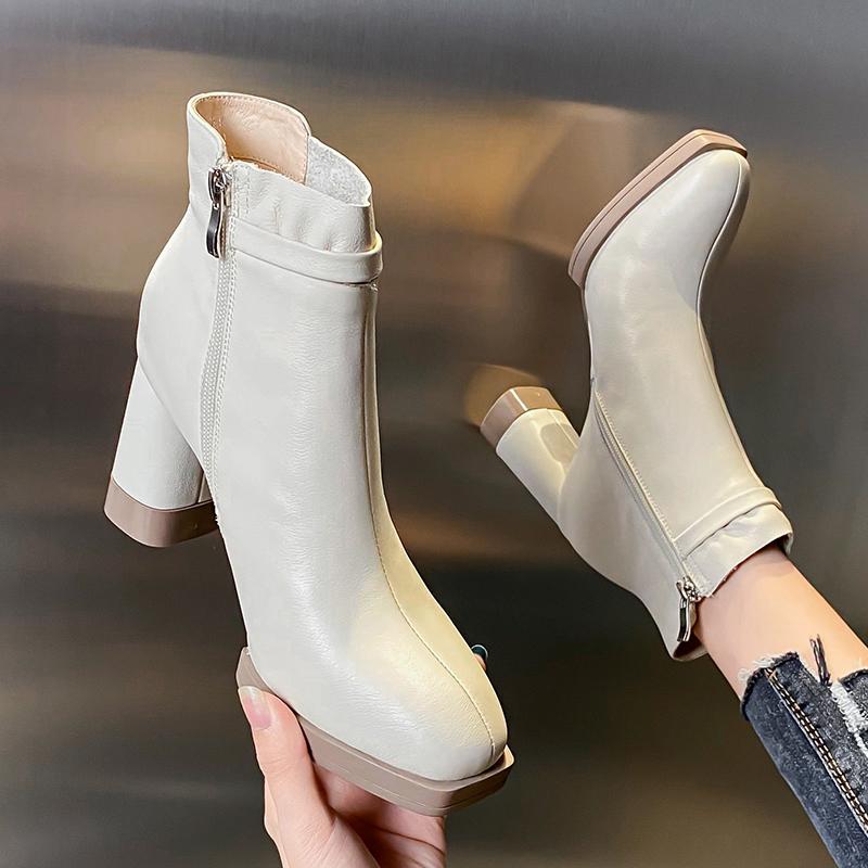 软皮高跟女靴2020年新款春秋季真皮百搭侧拉链方头粗跟中跟马丁靴