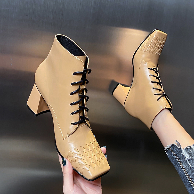European and American Leather thick heel short boots new high heel square head lace up soft leather black versatile high heel shoes in autumn and winter 2020