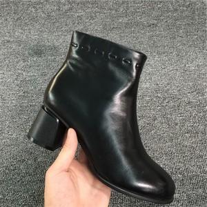 2019冬季新款时尚韩版圆头侧拉链真皮粗跟气质舒适断码特价马丁靴