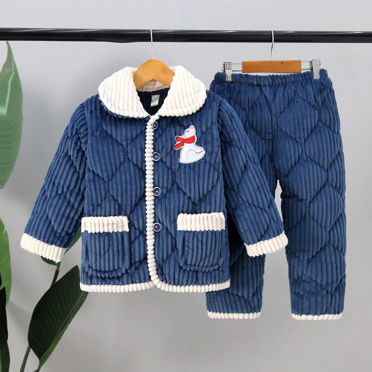 冬季儿童睡衣三层加厚夹棉宝宝男孩女童大童珊瑚绒保暖家居服套装