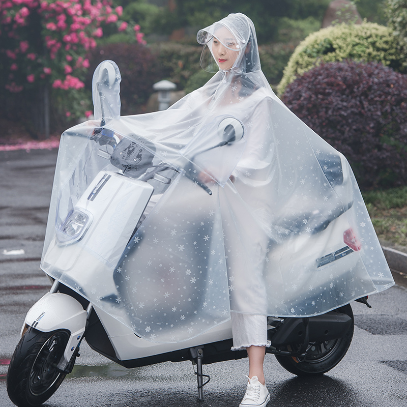 Raincoat long full body adult electric car fashion walking raincoat riding poncho bicycle battery car transparent