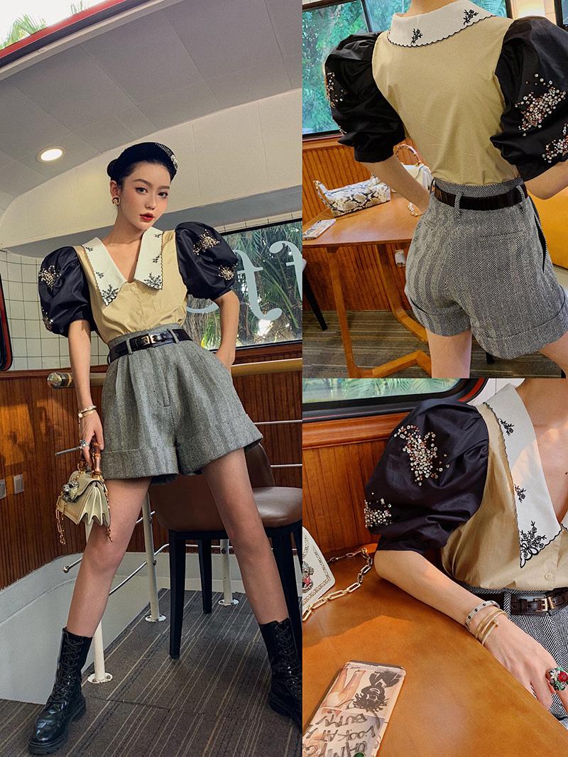 孙瑜儿法式复古刺绣方领泡泡袖衬衫(用190元券)