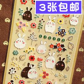 韩国进口可爱卡通兔子手账贴纸 手机日记本diy相册装饰儿童贴画