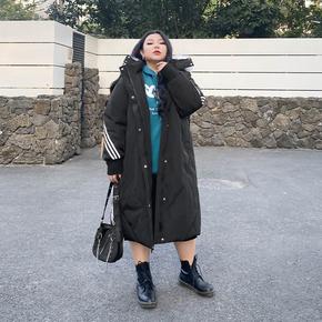 胖萱大码女装200斤胖mm秋冬过膝大毛领连帽棉服加大加厚洋气外套