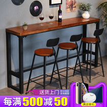 Custom solid wood against the wall bar table narrow table bar table combination retro small bar table Iron high table