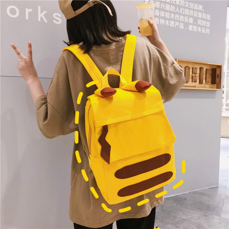 书包女韩高中儿童双肩包小学生着感少女校园萌通皮卡丘背包