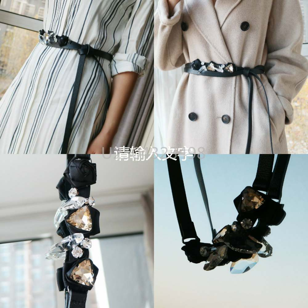 The first layer of cowhide artificial bow decoration can be made of gemstone, double circle waist rope, black belt, womens waist chain and skirt