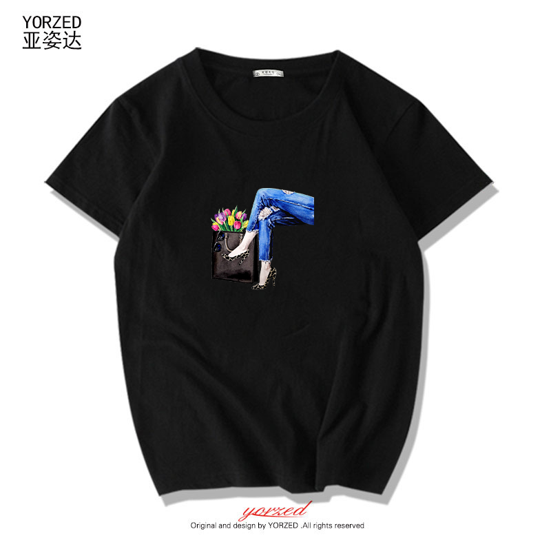 短袖t恤女夏装新款短款体恤打底衫