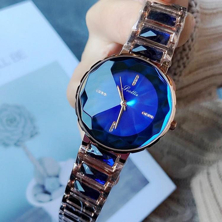 新款诗高迪时尚腕表水晶钻石手链表品质潮流个性女士紫色女款手表