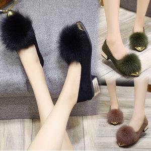 2019新款毛毛鞋女冬季平底休闲一脚蹬浅口单鞋粗跟中跟尖头豆豆鞋