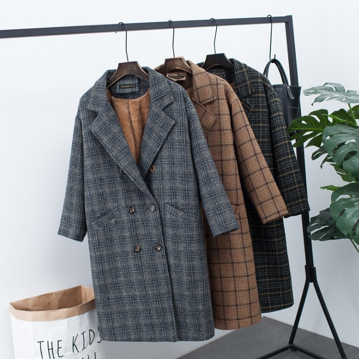 2019 new autumn dress Plush plaid coat womens Korean medium length wide pine plaid coat