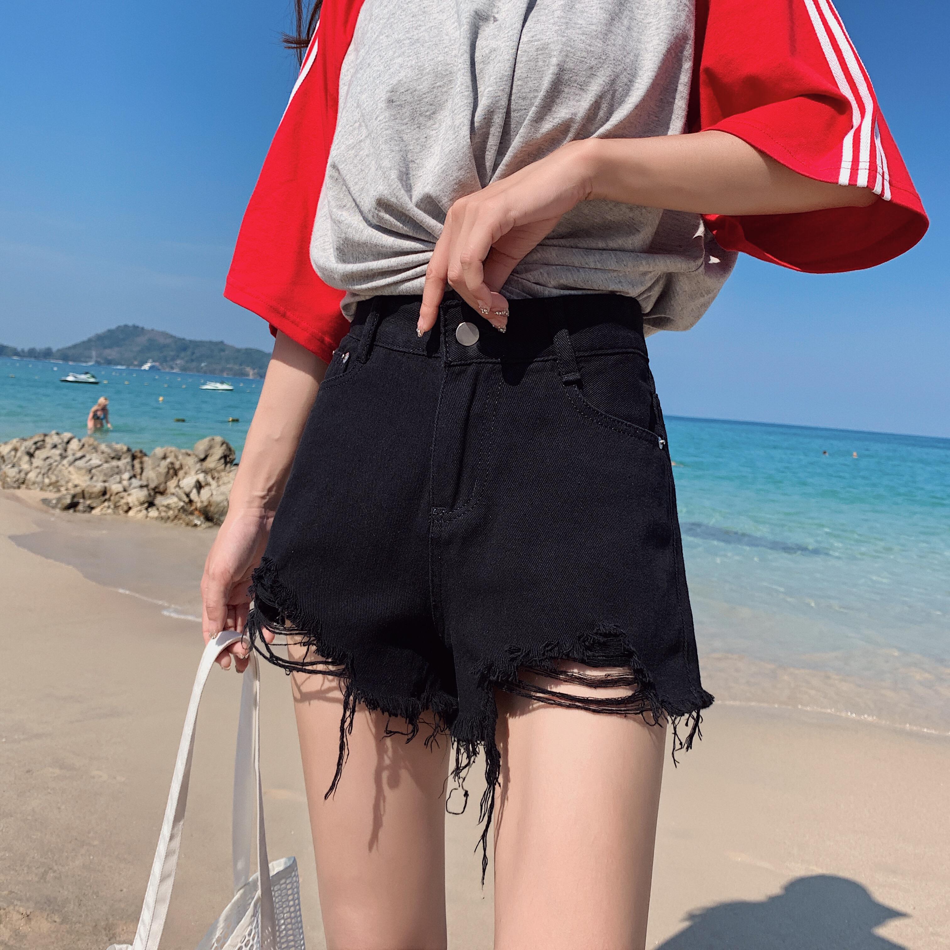 春季a字1浅色牛仔短裤女夏款宽松高腰超短裤阔腿热701P25 限价49