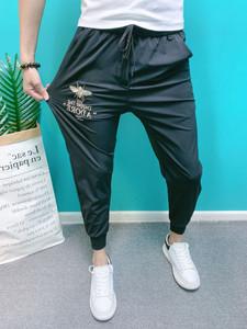冰丝棉裤夏季潮牌休闲裤男网红同款蜜蜂刺绣裤子青年韩版修身裤子