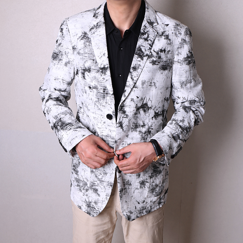 Clearance price 3D ink printing and dyeing picture cotton hemp texture mens single breasted casual suit and Western jacket