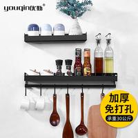 Отличный сервис черный Кухонные принадлежности бесплатные стойки для перфорации Стеллаж для хранения специй Стеллаж для хранения специй Настенное крепление