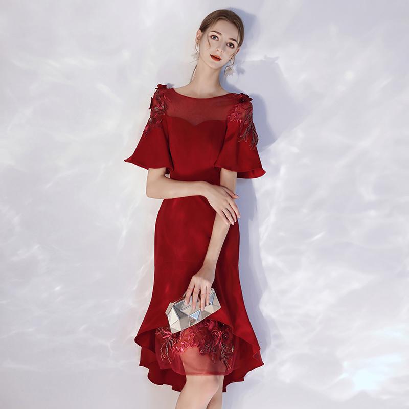 238.00元包邮新娘敬酒服秋鱼尾修身气质红色中长款答谢宴结婚礼服裙女平时可穿