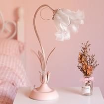 粉色欧式台灯床头灯卧室ins少女心创意网红花朵公主房书桌装饰灯