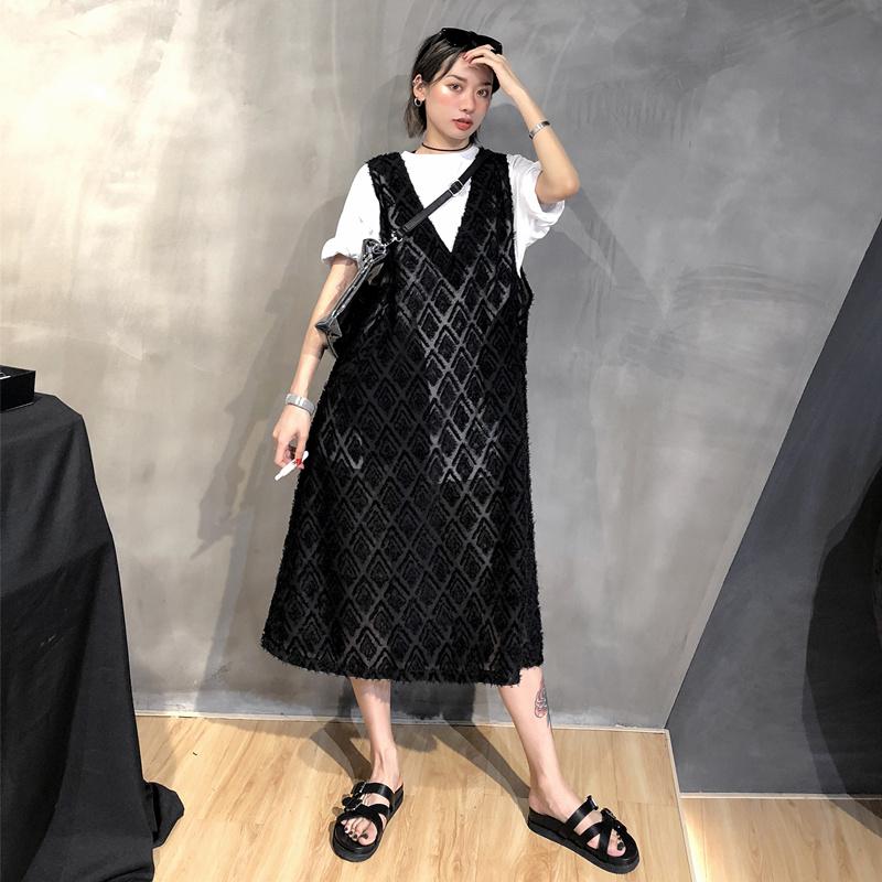 OPEN-UP2019夏装新款chic港风提花oversize中长V领过膝无袖连衣裙