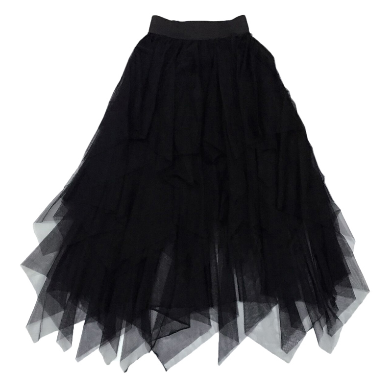 黑色网纱裙女半身裙春季高腰a字裙不规则仙女裙中长款显瘦蓬蓬裙