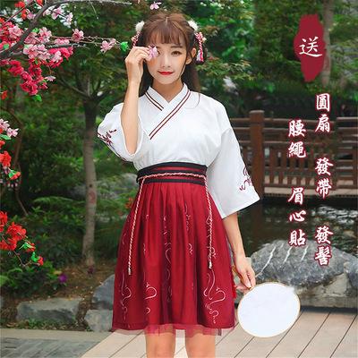 汉服女夏改良交领襦裙中国风古装日常装学生班校服汉元素古风套装