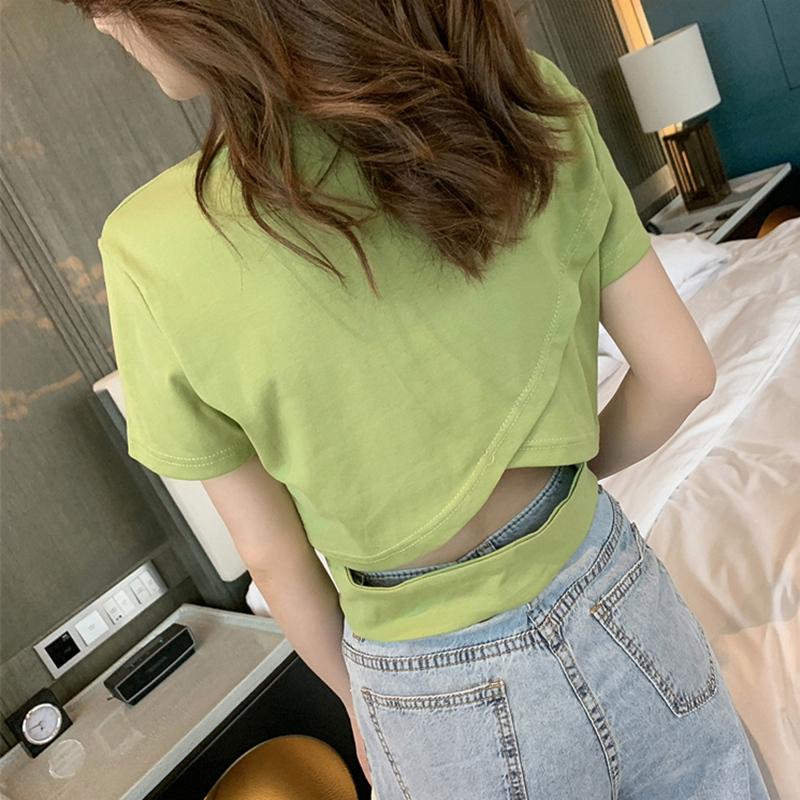 2020新款韩版夏小众心机露背牛油果绿短袖t恤女短款露脐ins上衣潮图片